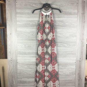 London Times Keyhole Halter Top Maxi Dress
